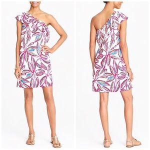 J. Crew Floral Print One Shoulder Short Dress